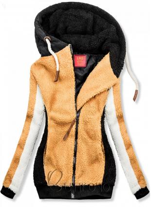 Žlto-čierna zimná mikina