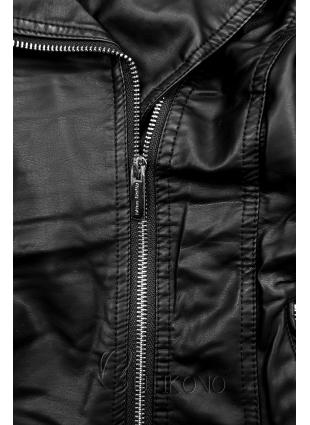 Čierna koženková bunda s kožušinovým golierom