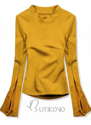 Žltý top s dlhými rukávmi