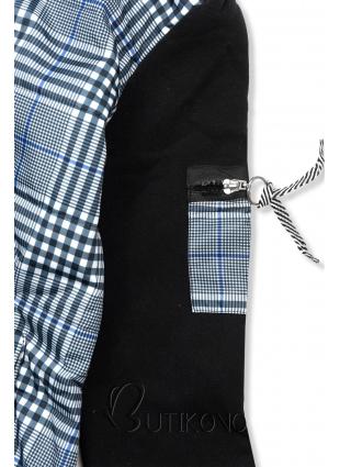 Čierna károvaná mikina/bunda