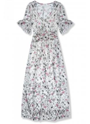 Biele maxi šaty s kvetinami Rafaela