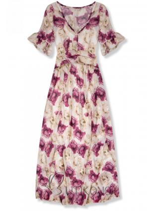 Biele maxi šaty s kvetinami Pandora