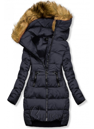Modrá zimná bunda s kapucňou