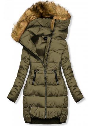 Khaki zimná bunda s kapucňou