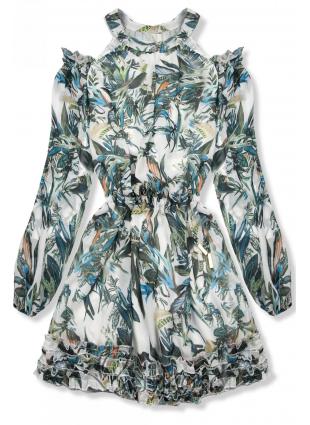 Zeleno-modré kvetinové šaty Laura/Ola Voga