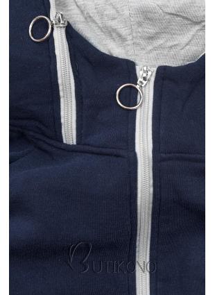 Modro-sivá dlhá mikina na zips