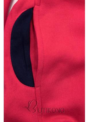 Malinovo ružová mikina s kontrastnými detailami