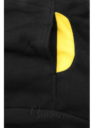 Čierna mikina s kontrastnými detailami