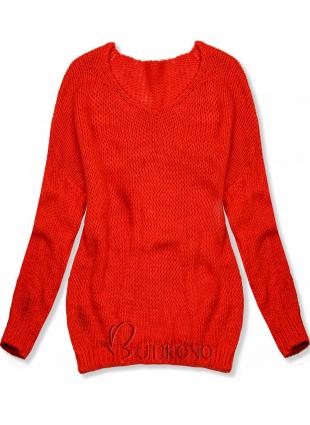Neónovo oranžový pletený pulóver