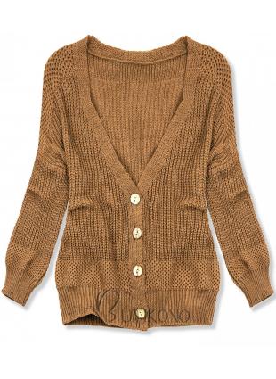 Hnedý pletený sveter na gombíky