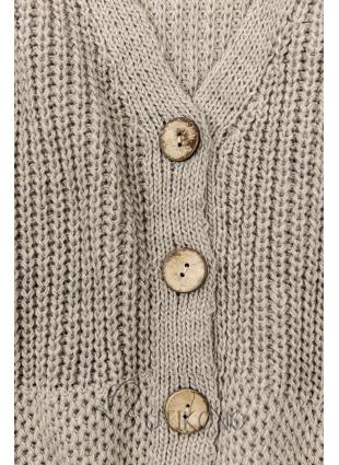 Cappuccino pletený sveter na gombíky