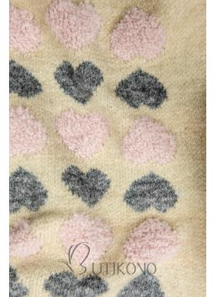 Béžový sveter so srdiečkami