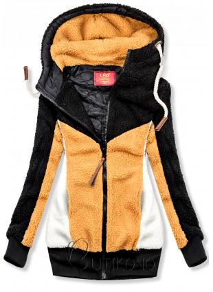 Čierno-žltá kožušinová mikina