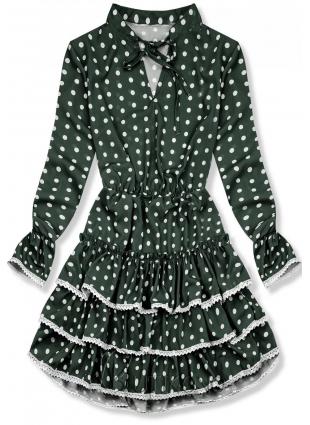 Zelené bodkované šaty s volánmi