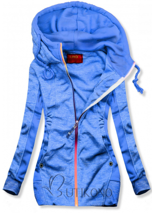 Modrá mikina s kontrastným zipsom