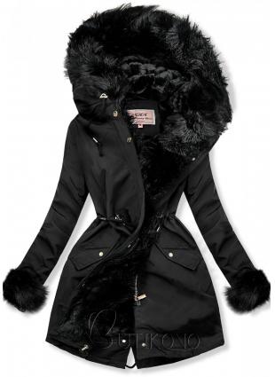 Čierna parka na zimu s odnímateľnou podšívkou