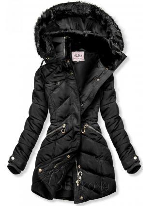 Čierna zimná bunda s teplým plyšovým golierom