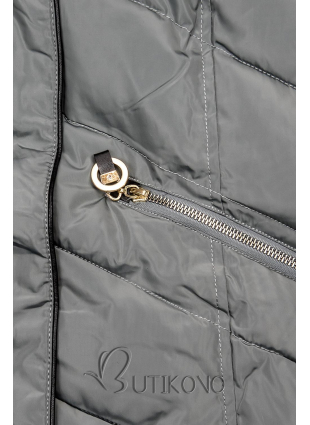 Sivá zimná bunda s teplým plyšovým golierom