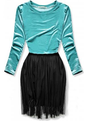 Tyrkysové šaty s tylovou sukňou