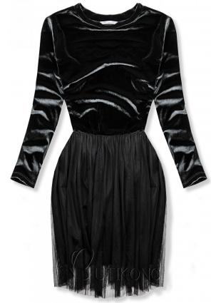 Sivé šaty s tylovou sukňou