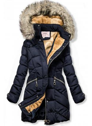 Modrá zimná bunda s odnímateľnou kapucňou