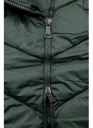 Zelená zimná bunda v predĺženom strihu