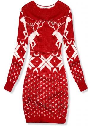 Červené pletené šaty so zimným motívom