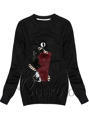 Čierny pulóver Papagáj