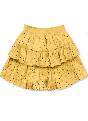 Žltá bodkovaná sukňa