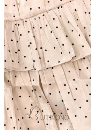 Béžová bodkovaná sukňa