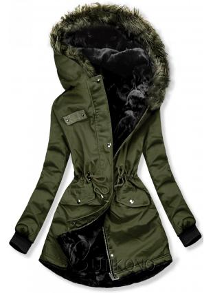 Zelená obojstranná zimná bunda