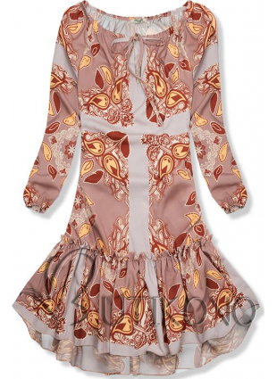Béžové vzorované šaty s volánovou sukňou