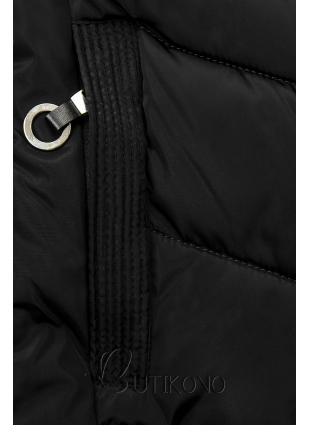 Čierna prešívaná bunda s kožušinou