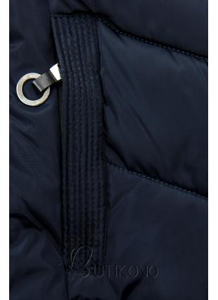 Modrá prešívaná bunda s kožušinou