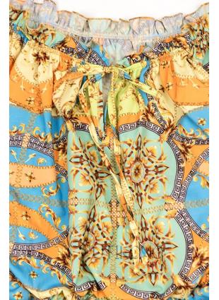 Modro-žlté vzorované šaty