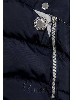 Modrá predĺžená bunda s kapucňou