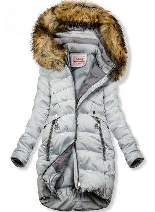 Baby blue predĺžená bunda s kapucňou