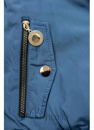 Jeans modrá zimná obojstranná bomber bunda