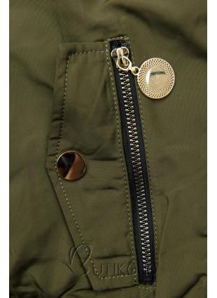 Khaki zimná obojstranná bomber bunda