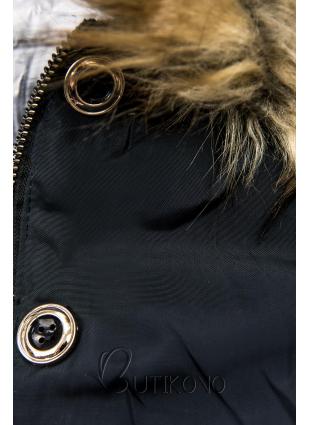 Tmavomodrá zimná obojstranná bomber bunda