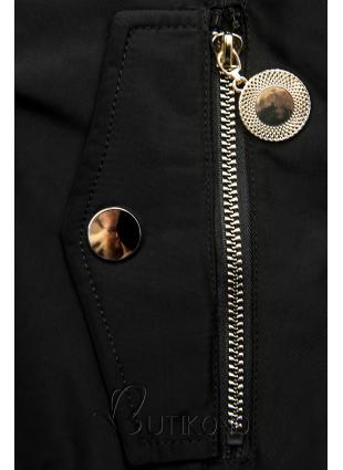 Čierna zimná obojstranná bomber bunda