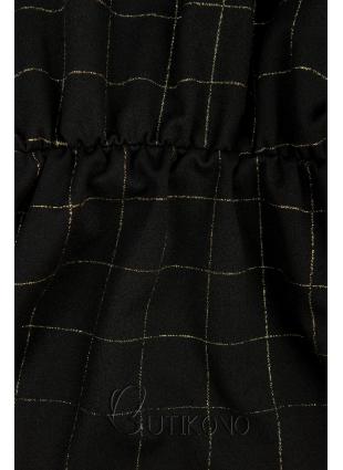 Čierne šaty so zlatou károvanou potlačou