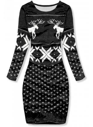 Čierne zamatové vianočné šaty