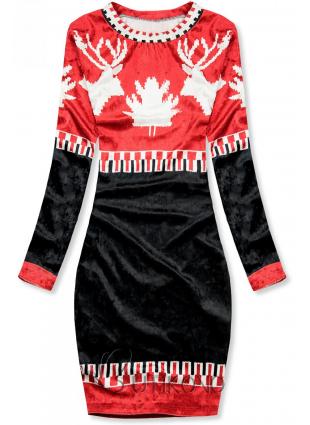 Červeno/modré zamatové vianočné šaty 861060