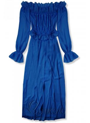 Kobaltovomodré letné dlhé šaty