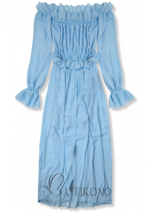 Baby blue letné dlhé šaty