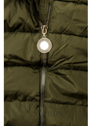 Khaki bunda s predĺženými rukávmi