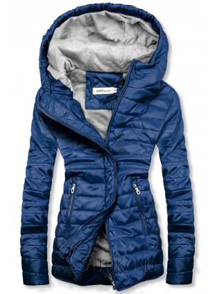 Modrá ľahká prešívaná bunda
