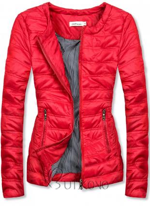 Červená krátka prešívaná bunda