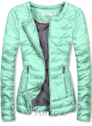 Mätovo-zelená krátka prešívaná bunda